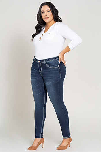 Women Plus Size WannaBettaButt Heavy Stitch Skinny Jean with Pocket Embroidery