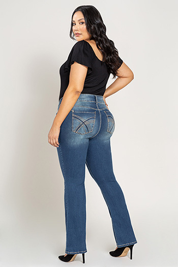 Women 2-Button Heavy Stitch Bootcut Jean