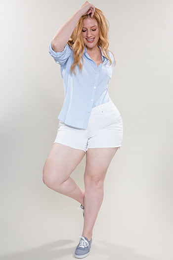 Women Plus Size Frayed Hi-Lo Hem Shorts