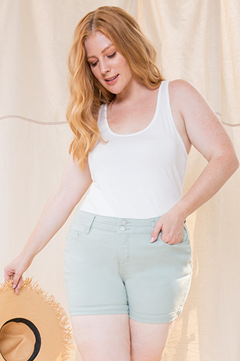Women Plus Size 2-Button Hide Your Muffin Top High-Rise Cuffed Shorts